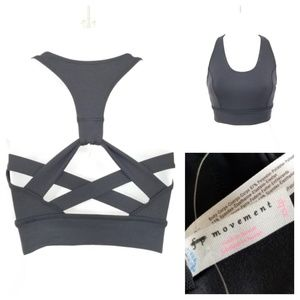 Free People Movement black crossed back sports bra